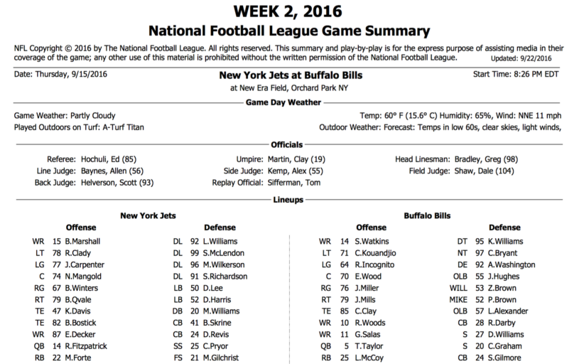 [NFL] Week 2: Gamebook di tutte le partite