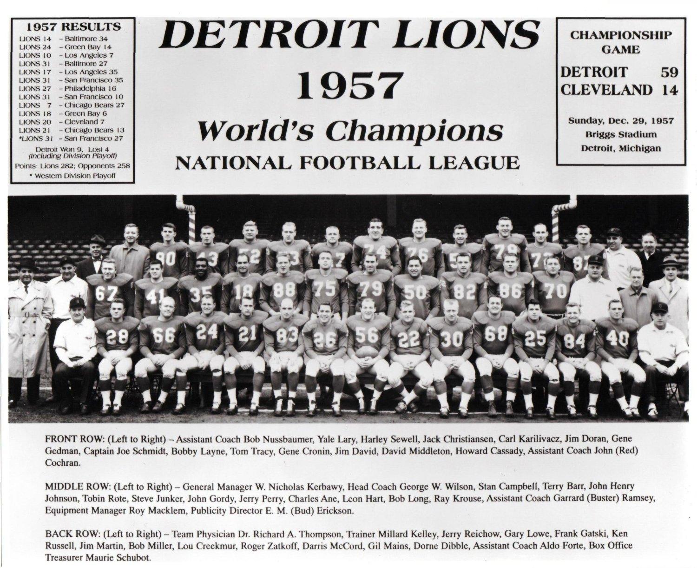 detroit lions 1957