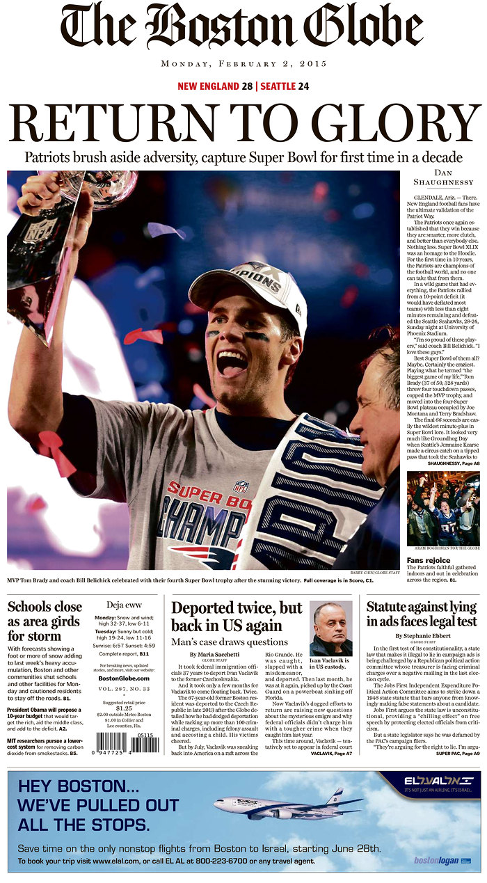 [NFL] Super Bowl: le prime pagine dei quotidiani USA