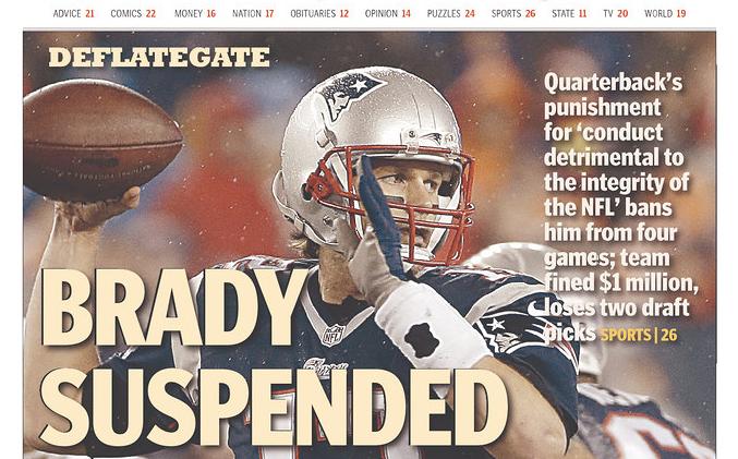 [NFL] Prime pagine su sanzioni per Brady e New England Patriots