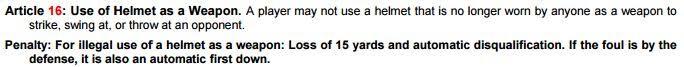 NFL Rulebook, articolo 16 (già 15)