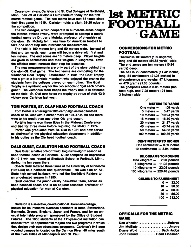 Metric-Football-Game-Program-1977-09-17-Back