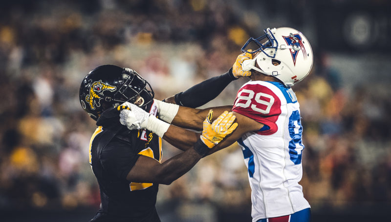 Duron Carter (89) and Cassius Vaughn (24) during the game between the Hamilton Tiger-Cats and the Montreal Alouettes at Tim Hortons Field in Hamilton, ON. Friday, September 16, 2016. (Photo: Johany Jutras)