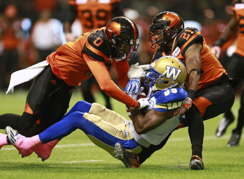 VANCOUVER, BC: OCTOBER 14, 2016 - The The Winnipeg Blue Bombers play the BC Lions at BC Place in Vancouver, Canada October 14, 2016. Photo by Jeff Vinnick