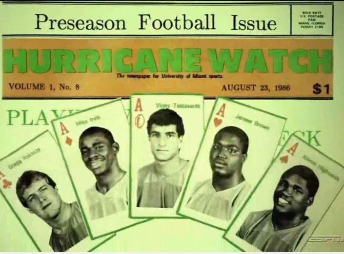 Parata di fuoriclasse degli Hurricanes, 1986. Jerome Brown asso di cuori