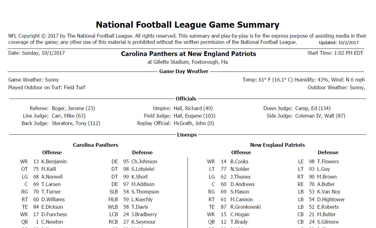 [NFL] Week 4: Gamebook di tutte le partite