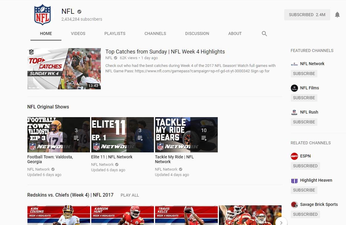 Le squadre più viste sul canale Youtube della NFL