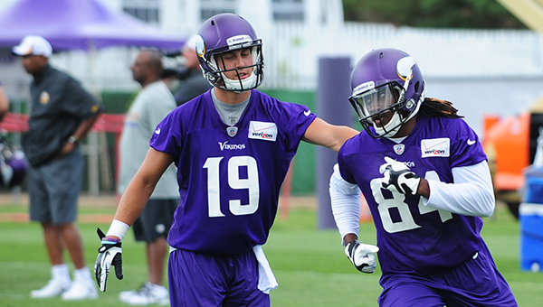 Adam Thielen al camp dei Vikings nel 2013