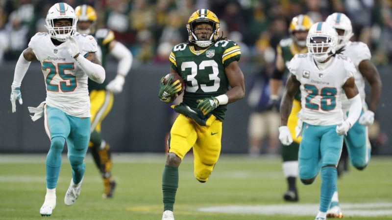 Aaron Jones Packers Dolphins