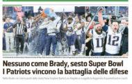 [NFL] Super Bowl LIII: gli articoli dei quotidiani italiani