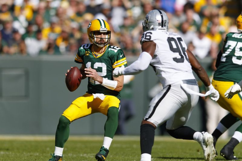 quarterback Aaron Rodgers Packers Raiders
