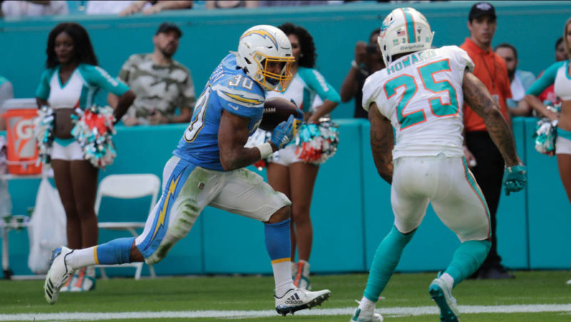 ekeler chargers dolphins