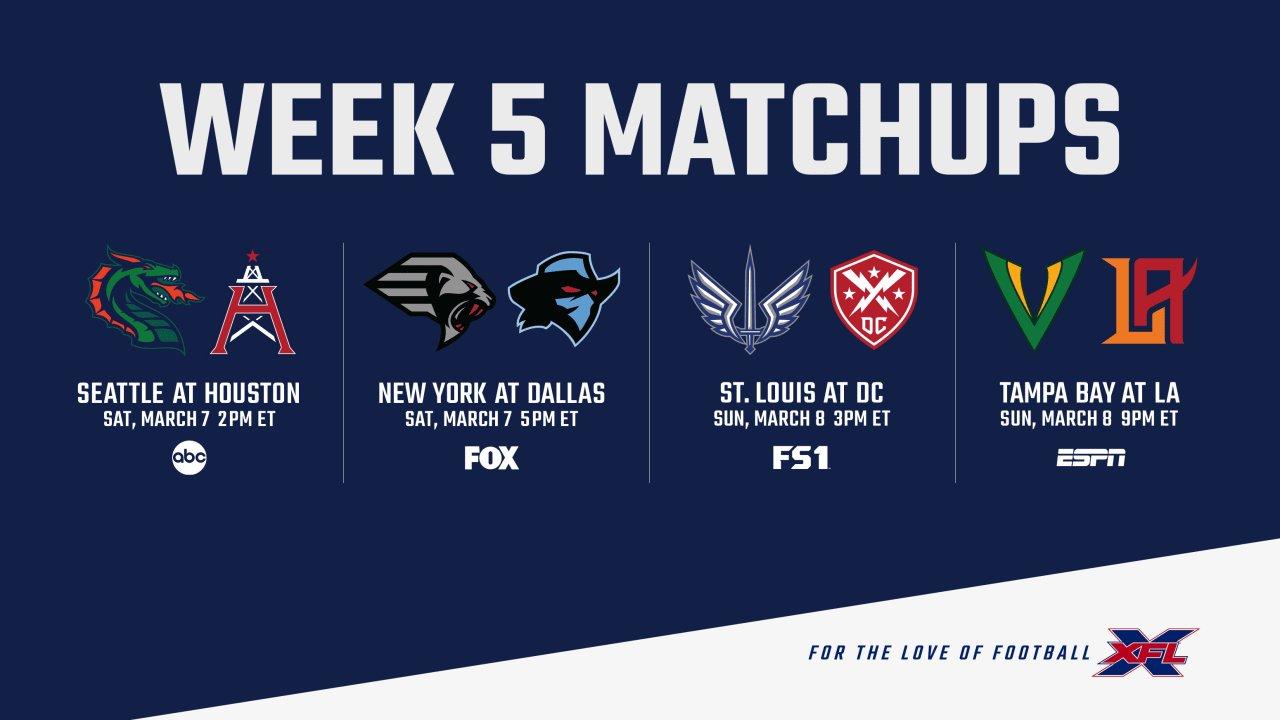 XFL, il preview di week 5
